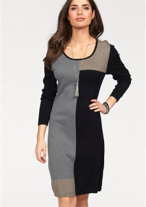 Платье BOYSENS BOYSEN'S. Цвет: синий/серый, черный/серый