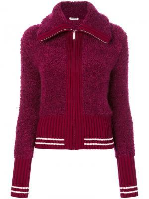 Трикотажный пиджак на молнии Miu. Цвет: розовый и фиолетовый