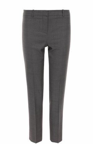 Укороченные брюки прямого кроя со стрелками BOSS. Цвет: серый