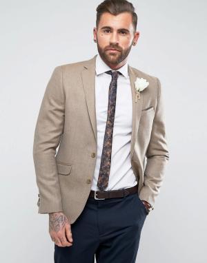 ASOS Блейзер скинни песочного цвета из 100% мериносовой шерсти Wedding. Цвет: коричневый