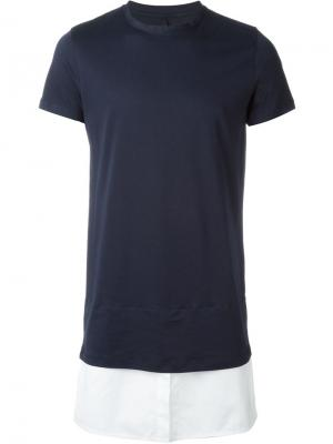 Футболка с подолом в стиле рубашки Matthew Miller. Цвет: синий