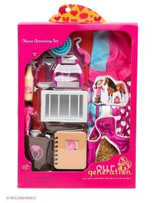 Игровой набор для ухода за лошадью OG Dolls. Цвет: розовый, белый, голубой