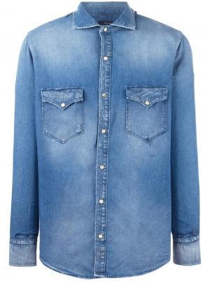 Джинсовая рубашка с накладными карманами +People. Цвет: синий