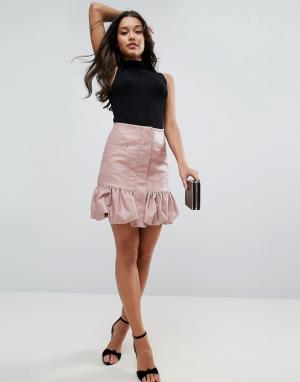 ASOS Мини-юбка из искусственной кожи с присборенным подолом. Цвет: розовый