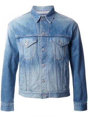 Джинсовая куртка с контрастной панелью Doublet. Цвет: синий