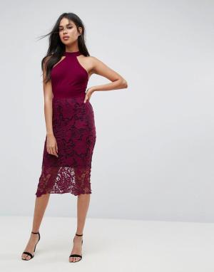 AX Paris Платье миди с ажурной юбкой и контрастной подкладкой. Цвет: фиолетовый