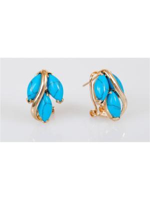 Серьги Lotus Jewelry. Цвет: золотистый, синий