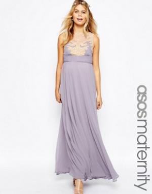 ASOS Maternity Платье макси для беременных с кружевной накладкой. Цвет: фиолетовый