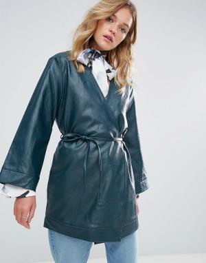 Neon Rose Куртка из кожзаменителя с запахом и тонким поясом. Цвет: зеленый
