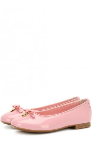 Лаковые балетки с бантами Dolce & Gabbana. Цвет: светло-розовый