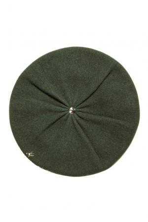 Берет из шерсти в кристаллах Swarovski 153242 Anna Jollini. Цвет: зеленый