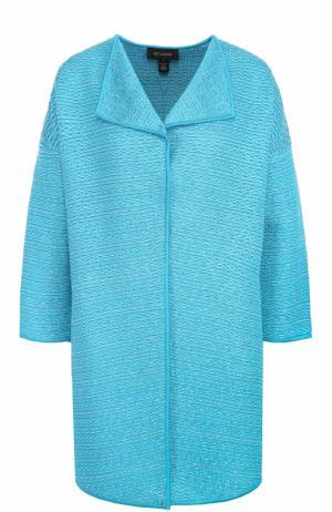 Пальто фактурной вязки с укороченным рукавом St. John. Цвет: бирюзовый