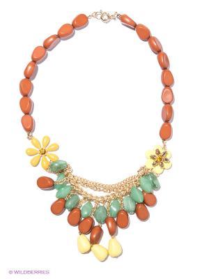 Колье Milana Style. Цвет: коричневый, желтый, зеленый