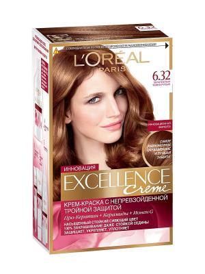 Стойкая крем-краска для волос Excellence, оттенок 6.32, Золотистый темно-русый L'Oreal Paris. Цвет: коричневый