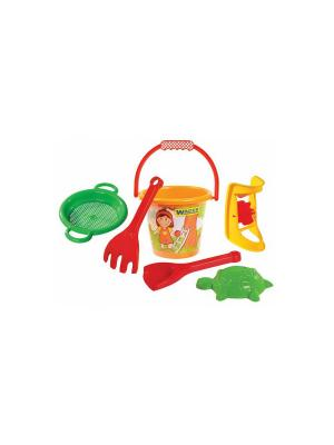 Набор для песка малый 6 эл. с мельницей ТИГРЕС. Цвет: желтый, синий, зеленый, красный