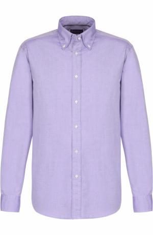 Хлопковая сорочка с воротником button down Ralph Lauren. Цвет: фиолетовый