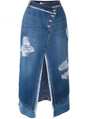 Асимметричная джинсовая юбка Steve J & Yoni P. Цвет: синий
