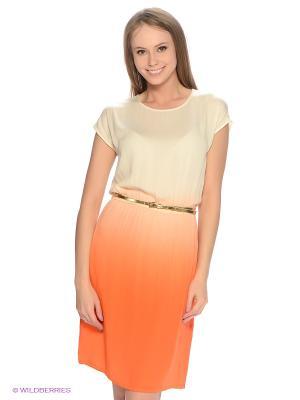 Платье Finn Flare. Цвет: оранжевый, светло-оранжевый, молочный