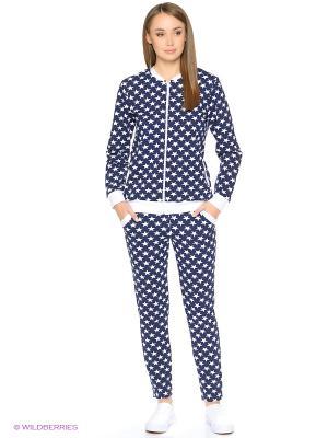 Домашний костюм-куртка на молнии и зауженные брюки NAGOTEX. Цвет: темно-синий, белый
