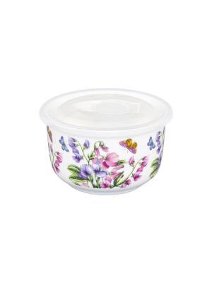 Салатник с пластиковой крышкой Душистый цветок Elan Gallery. Цвет: белый, зеленый, розовый