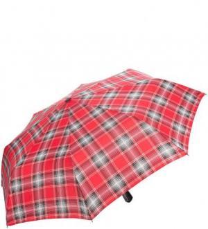 Красный складной зонт в клетку Doppler. Цвет: красный