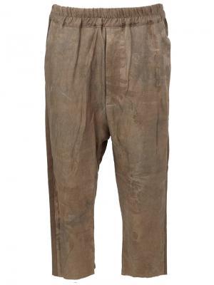 Укороченные жаккардовые  брюки By Walid. Цвет: зелёный