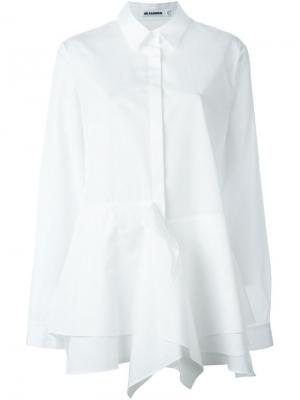 Рубашка с оборками Jil Sander. Цвет: белый