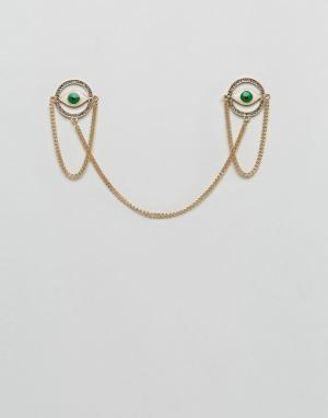 ASOS Зеленые уголки для воротника с глазами. Цвет: золотой