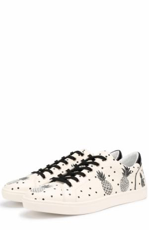 Кожаные кеды London на шнуровке с принтом Dolce & Gabbana. Цвет: белый
