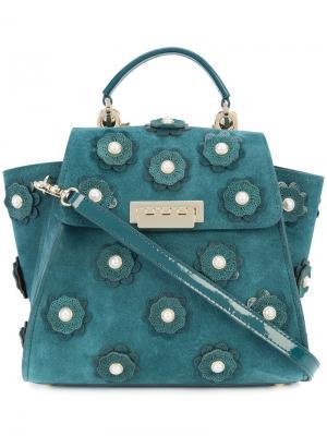 Рюкзак с цветочной аппликацией Zac Posen. Цвет: синий