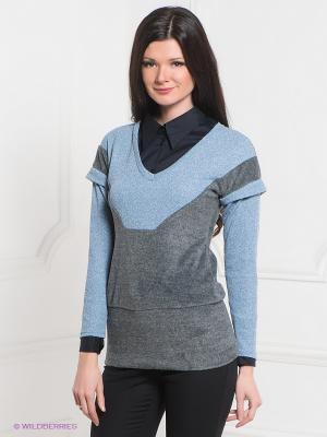 Пуловер MELANY. Цвет: голубой, серый