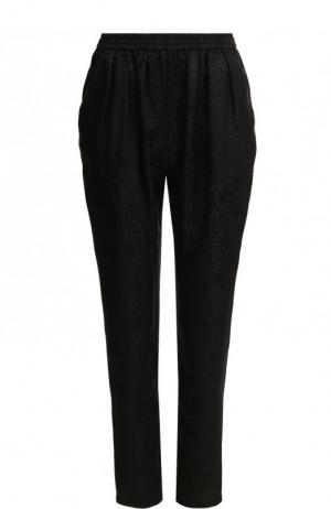 Укороченные однотонные брюки из шелка Stella McCartney. Цвет: черный