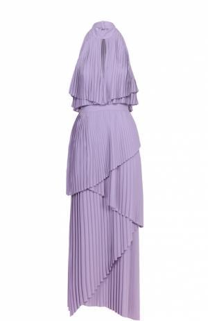 Плиссированное многоярусное платье асимметричного кроя Elie Saab. Цвет: светло-сиреневый