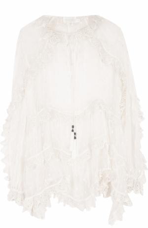 Прозрачная шелковая блуза свободного кроя Zimmermann. Цвет: белый