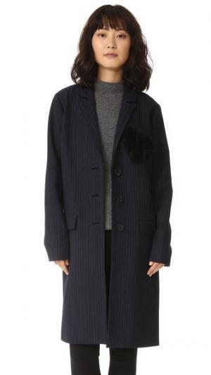 Пальто Jacob в тонкую полоску с отделкой виде сердечка Marissa Webb. Цвет: голубой