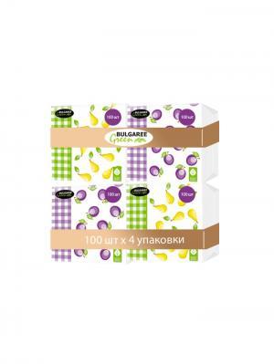 Набор из 4-х упаковок однослойных салфеток с принтом Сливы и Груши, 4х100шт Bulgaree Green. Цвет: белый