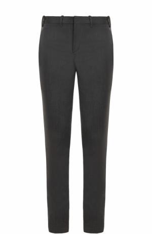Шерстяные брюки прямого кроя с лампасами Neil Barrett. Цвет: серый