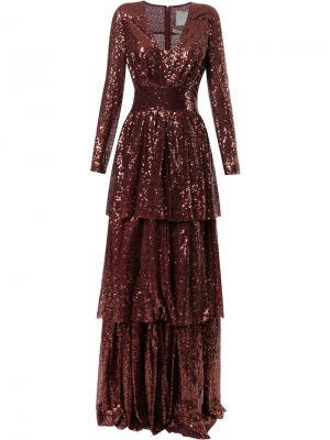 Платье с пайетками Ingie Paris. Цвет: красный