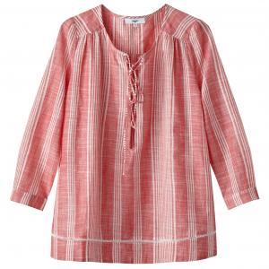 Блузка из хлопка с V-образным вырезом SUNCOO. Цвет: красный
