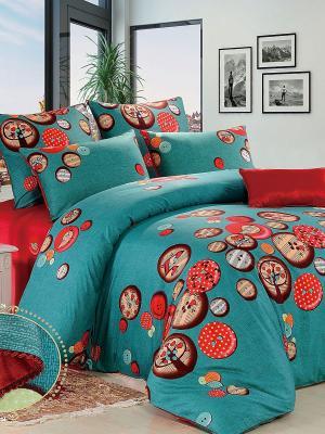 Комплект постельного белья, Пуговкиюниор, Евро KAZANOV.A.. Цвет: зеленый, красный