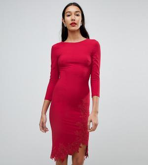 Little Mistress Tall Платье-футляр с длинными рукавами, боковым разрезом и аппликацией Litt. Цвет: красный