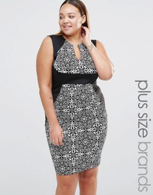 Praslin Платье-футляр с V-образным вырезом и контрастным поясом Plus. Цвет: черный