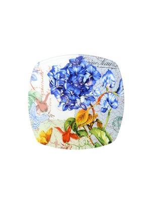 Тарелка квадратная  Август Elff Ceramics. Цвет: белый, синий, зеленый