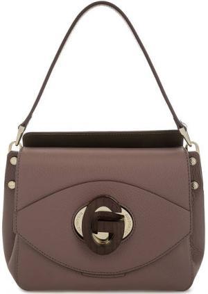 Маленькая кожаная сумка с откидным клапаном Gironacci. Цвет: сиреневый