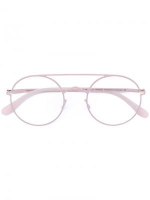 Очки в круглой оправе Mykita. Цвет: розовый и фиолетовый