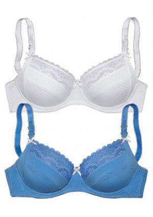 Бюстгальтер, 2 штуки PETITE FLEUR. Цвет: пудровый+белый, синий + белый, черный + белый