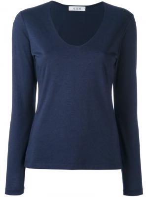 Блузка с V-образным вырезом и длинными рукавами Allude. Цвет: синий