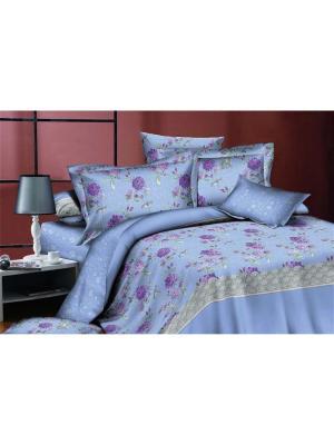 Комплект постельного белья евро, поплин BegAl. Цвет: голубой