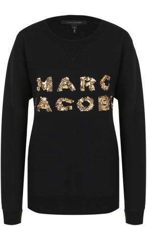 Хлопковый свитшот с контрастной вышивкой пайетками Marc Jacobs. Цвет: черный
