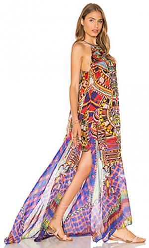 Платье с прозрачным оверлеем Camilla. Цвет: красный